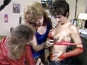 Three retro lesbians love fucking each other
