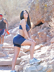 Zoey exercises outside horny and gets naked