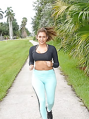 Hot fucking milf gets drilled hard after a jog in the park in her tight booty pants