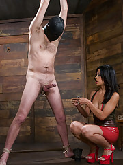 Two mean bitches humiliate slave boy and fuck his ass