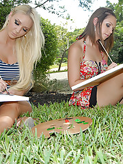 Super hot lesbian teens fuck their pussies in these hot lesbian outdoor fuck pics
