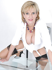 Cleavage and nylons classy mature