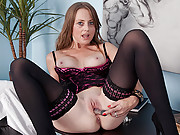 Naughty doctor Sofia Rae destroys her cougar pussy with a dildo