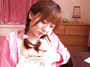 Yuma Asami Asian loves pink and to masturbate her cum dumpster