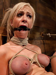 Sexy blond with pig tails, braces and big tits is bound spread, is gagged, abused made to cum with vibrator & fingers.  Helpless to stop the orgasms.