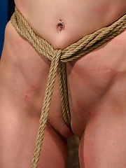 Sexy hard body with huge nipples is bound in a choke out tie.  Zippered, caned, tortured with brutal orgasms, pulled to toes & crotch roped!  INTENSE!