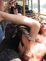 Niki Sweet gets paraded naked through the streets, fucked on a public bus, covered in cum, and left nude and tied up in a stairwell.