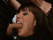 Gia DiMarco is made to squirt all over herself and do her first dp in a bar full of gawkers