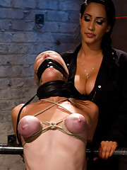 Part 1/4 of Aug Live show: Audrey had her breast bound & huge mouth properly gagged.  Legs spread & helpless. nipples clamped and made to cum, & cum!