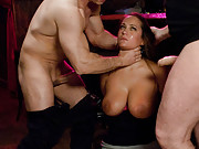 Busty barmaid bound and double penetrated by the debt collectors!