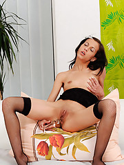 Skinny Natali Sweets loves fucking her glass dildo with her stockings on