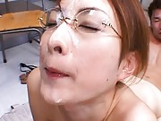 Nene with cum on her eyeglass is screwed  from behind