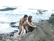 Mami Asian slut gets poonanie nailed so much on the sea shore