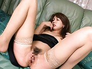 Yua Kisaki Asian babe gets hairy cunt licked and fucked hard