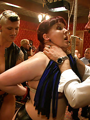 Asphyxia Noir mouths off to The Pope and ends up coming like a whore in her first rope suspension ever. Sister suffers at the hands of Brother.