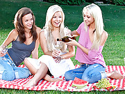 Check out these 3 real amateur babes caught fucking in the park picnic naked hot lesbian sex