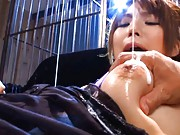 Azumi Harusaki Asian gets lots of body milk on her peach and bust