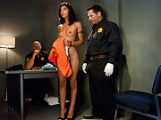 French girl bound and double penetrated in foreign prison.