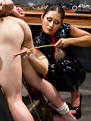 Seductive dominatrix frustrates, teases and denies slaveboy until he thinks he will cum in his chastity belt.