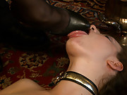 Mistress Aiden pulls everyone in the room into a D/s orgy with blow jobs, orgasms, oral service, strap on fucking, canes, and lots of begging.