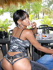Amazing sleek long leg charmaine gets her black skin covered in cum after a fuck in the park