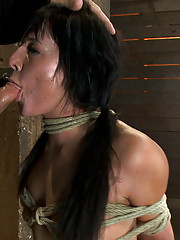 Cute girl next door with Daddy issues, get severely bound, elbows together, skull fucked and  brutally deep throated.  Made to cum, and crotch roped!