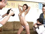Asuka Yuki Asian pictured while she exposes naked boobs and muff