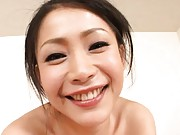Maki Tomoda Asian topless and with butt in gym suit sucks shaft