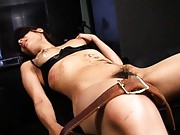 Miyo Kagura is gagged and bound to a table while dirty