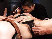 Miyo Kagura is blindfolded and tied her tits are colored with pen