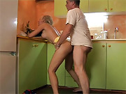 Hot chick shagging a dude hardcore in kitchen
