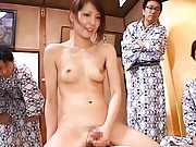 Yua Kisaki Asian rides phallus with studs watching and praising