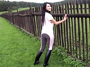Horse riding beauty strokes cooch outdoors