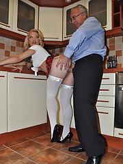 Blonde schoolgirl sucking a big stiff schlong