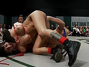 Amazing brutal Tag Team Wresting! All non Scripted, in front of a live crowd.  Massive 6 girl orgy at the end with the loser getting FISTED & fucked!