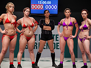 "4 girls, 8 ""DD"" breasts, battle in the Playoffs for the Tag Team League. Winners go to the Championship, losers get fucked in front of the crowd."