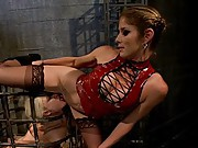 All natural local cutie gets brutally punished and and fucked by lesbian dominatrix