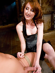 Gorgeous latex Mistress Kendra beats slave boy to his limits and violates his ass