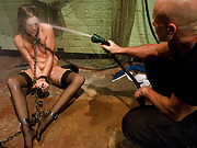 Water tortured and fucked in bondage.