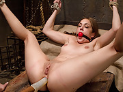 Slavegirl is made to sit on the most powerful vibrator in the world, smacked and flogged while taunted to orgasm by sadistic lesbian domme.