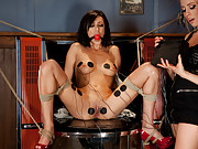 Breanne gets tied up and dominated with electricity in intense lesbian BDSM scene!