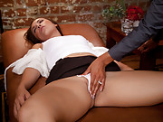 Isis Love plays a sexy hypnotherapist that takes advantage of her patient Kristina Rose while she is passed out on her couch
