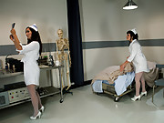 Head nurse Isis Love teaches the new nurse a lesson with bondage, electricity, and her big strap-on cock