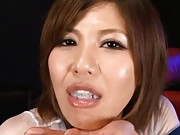 Pine Shizuku Asian eating sperm with spoon as her favorite meal