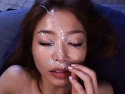 Sarasa Hara Asian gets so much sperm on face after she sucks tool
