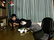 Japanese AV Model is fucked on the floor and gets cum on bum
