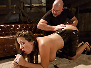 Double anal submissive slut in latex.