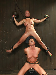 Dia Zerva and Ariel X on sybians with severe nipple bondage. Bondage sluts are flogged heavy and whipped hard. Nipples cinched tight during orgasms.