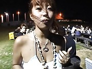 Japanese AV Model undressed by force at an outdoor night party