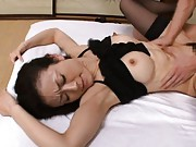 Matsuda Kumiko receives cock in mouth and pussy till she eats cum